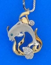 14k denny wong dolphin coral pendant 2-tone