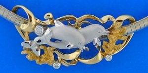 14k denny wong dolphin slide 2-tone
