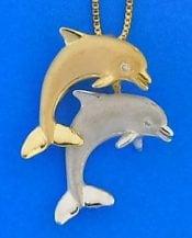 denny wong dancing dolphins pendant slide 14k 2-tone