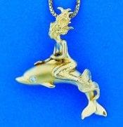 14k steven douglas mermaid dolphin pendant