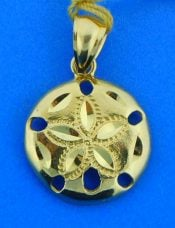 sand dollar pendant, diamond-cut, 14k