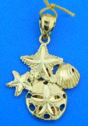 sand dollar starfish shell pendant, 14k