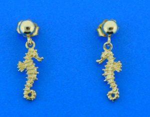 seahorse ball drop 14k earring