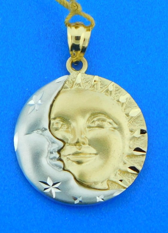 14K Two-Tone Yellow Gold Sun And White Moon Pendant