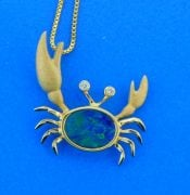 denny wong crab pendant 14k and opal