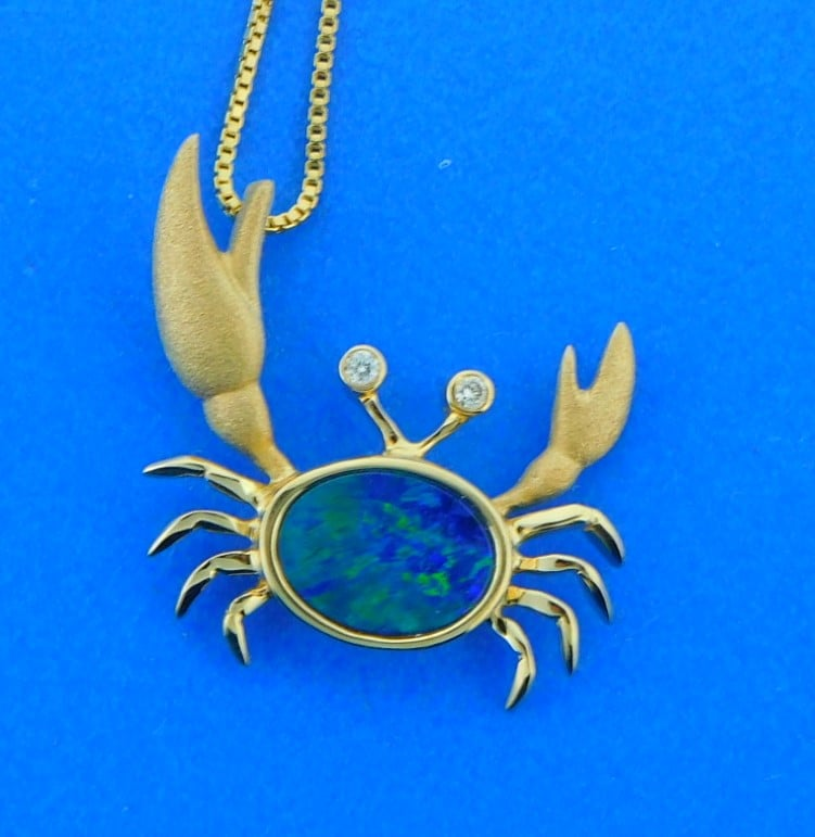 Opal Crab Blue Opal Crab Pendant Gift for her Girfrient gift Anniversary gift Crab Pendant Opal jewelry Gift for wife Greek jewelry