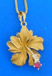 14k hibiscus denny wong pendant