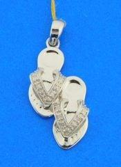 14k white gold sandal flip flop diamond pendant