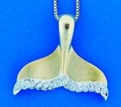 denny wong diamond whale tail pendant,14k