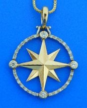 Compass Rose Pendant All Diamond, 14K Yellow Gold, Large