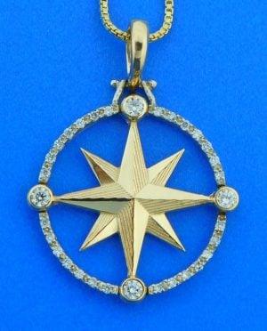 Compass Rose Pendant All Diamond, 14K Yellow Gold, Large