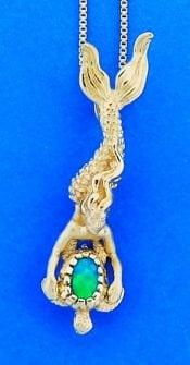 14k steven douglas mermaid sea turtle pendant