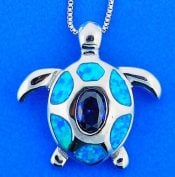 SEA TURTLE.OPAL,PENDANT,STERLING