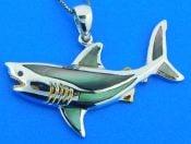 shark pendant ,shell,sterling