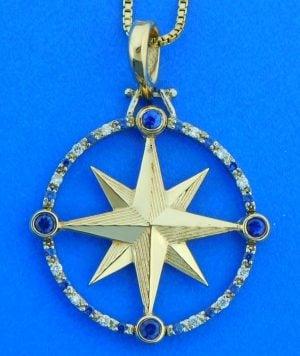 Compass Rose Pendant, 14K Sapphire & Diamonds Large Size