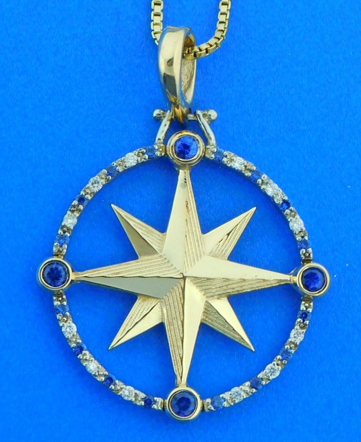 Compass Rose Pendant 14k 2 Tone Sapphire Amp Diamonds