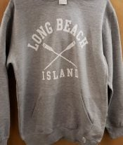 LBI Adult Hoodie, Heather Grey, Crossed Oars