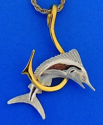 Steven Douglas Marlin Hook Necklace Sterling Silver 14k