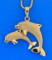 14k denny wong dancing dolphins pendant