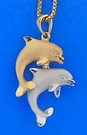 14k denny wong dancing dolphin pendan