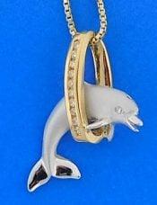 14k denny wong dolphin hoop pendant 2-tone