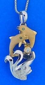 14k denny wong dolphin pendant