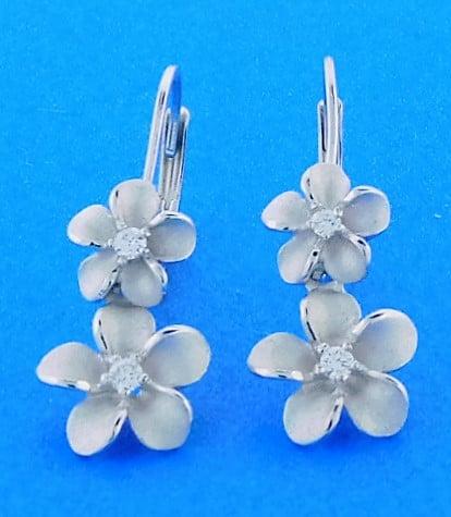Denny Wong Double Plumeria Earrings 14k White Gold