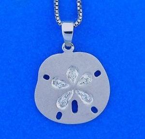 14k denny wong sand dollar pendant white gold