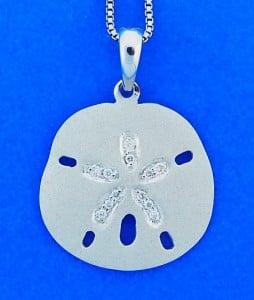 14k white gold sand dollar pendant