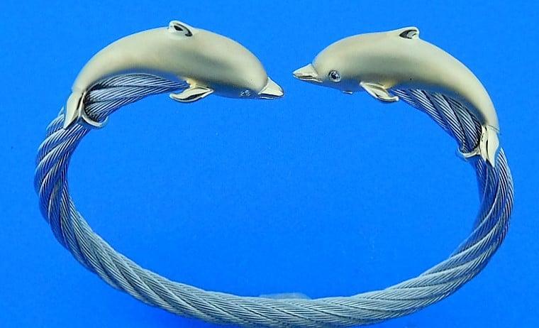 Steven Douglas Dolphin Cuff Bracelet 14k Stainless Steel