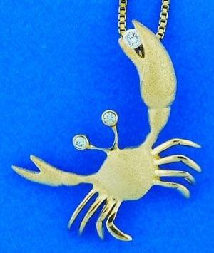 14k denny wong crab pendant
