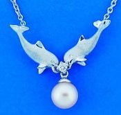 Denny Wong Double Dolphin Pearl Necklace,Precious Silver