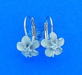 Denny Wong 8mm Plumeria Lever Back Earring,Precious Silver