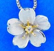 Denny Wong Cherry Blossom Pendant,14k 2-Tone