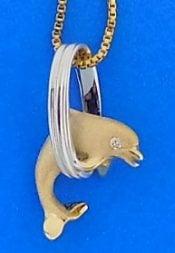 Denny Wong Dolphin Hoop Pendant,14k 2-Tone
