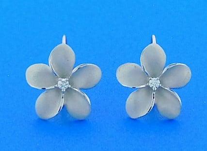 Denny Wong 15mm Plumeria Lever Back Earrings 14k White Gold
