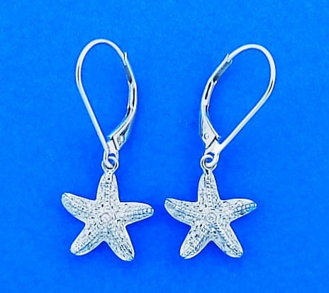 Diamond Starfish Lever Back Dangle Earrings 14k White Gold