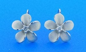 Denny Wong 15mm Plumeria Lever Back Earring,Precious Silver