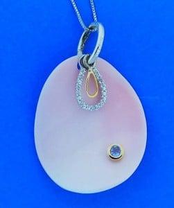Denny Wong Pink Conch Shell,Pendant/Slide,Precious Silver/18k