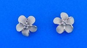 Denny Wong 11mm plumeria post earring,silver