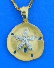 Sand Dollar Diamond Pendant, 14K Yellow Gold