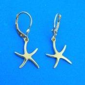 Starfish 3D Dangle Lever Back Earring, 14K Yellow Gold