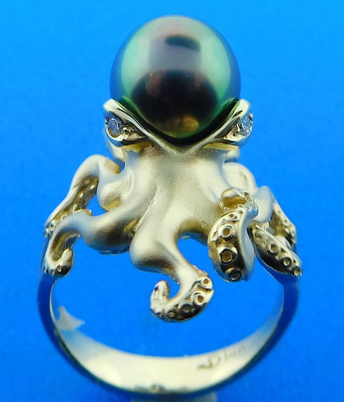 Lbi Nj: Steven Douglas Octopus Ring With Tahitian Pearl, 14K