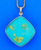 Denny Wong x-lg turquoise treasure island pendant,3d,18k