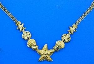 Sealife Starfish Necklace, 14K Yellow Gold