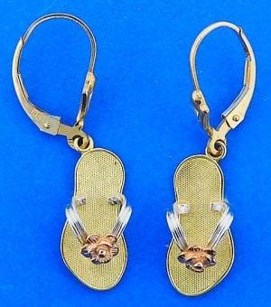 Flip-Flop Earrings,14k 2-tone