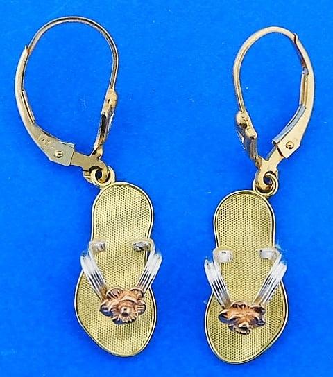 eaaa692d5b9d Flip-Flop Dangle 2-Tone Earrings Lever Back 14K