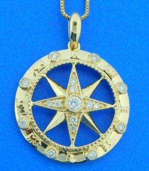 Compass Rose Diamond Pendant, 14K Yellow Gold