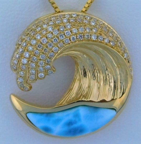 Lbi Nj: Alamea Wave Larimar Pendant, 14K Yellow Gold