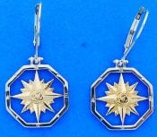 COMPASS ROSE,EARRING,NAUTICAL